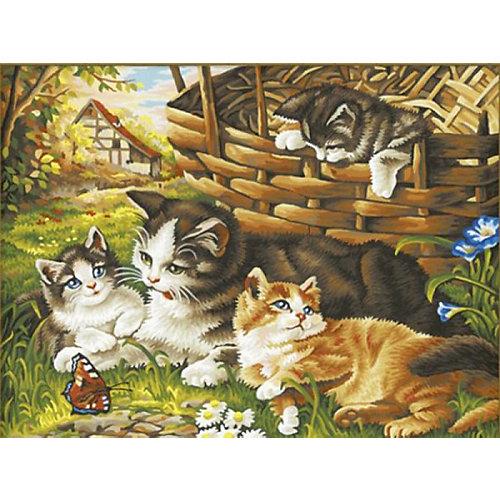 """Раскраска по номерам на картоне Color KIT """"Семейство кошачьих"""", 30х40 см от Color KIT"""
