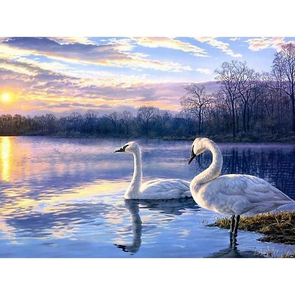 "Раскраска по номерам на картоне Color KIT ""Лебеди"", 30х40 см"