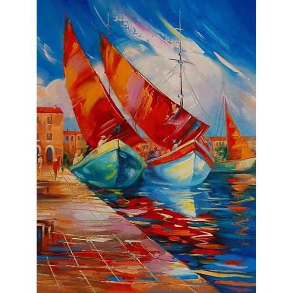 """Раскраска по номерам на картоне Color KIT """"Яхты"""", 30х40 см"""