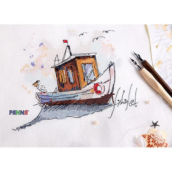 """Набор для вышивания Panna """"Бэкстич"""" Рыбацкая лодка, 25х18 см"""