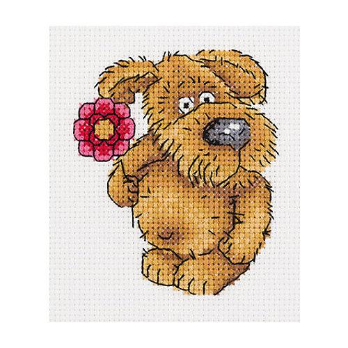 """Набор для вышивания мулине Klart """"Пёсик с цветочком"""", 10х11 см от Klart"""