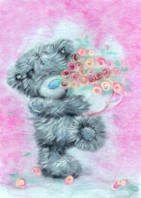 "Набор для валяния Woolla ""Шерстяная акварель"" Татти Тедди с цветами, 21х30 см"