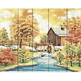 """Картина по номерам на дереве Фрея """"Домик у реки"""", 50х40 см"""