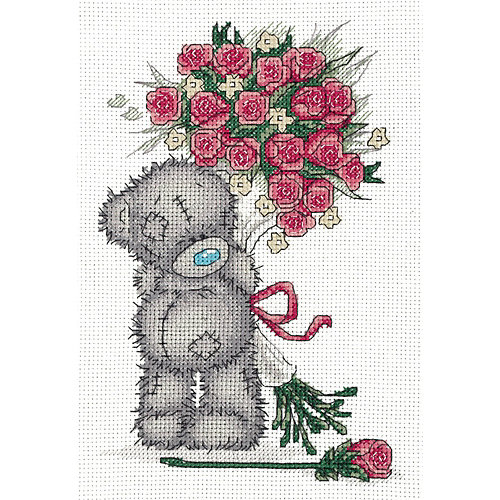 """Набор для вышивания мулине Klart """"Tatty Teddy с букетом роз"""", 16х23 см от Klart"""