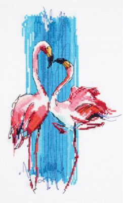"Набор для вышивания Panna ""Бэкстич"" Розовые фламинго, 17х25 см"