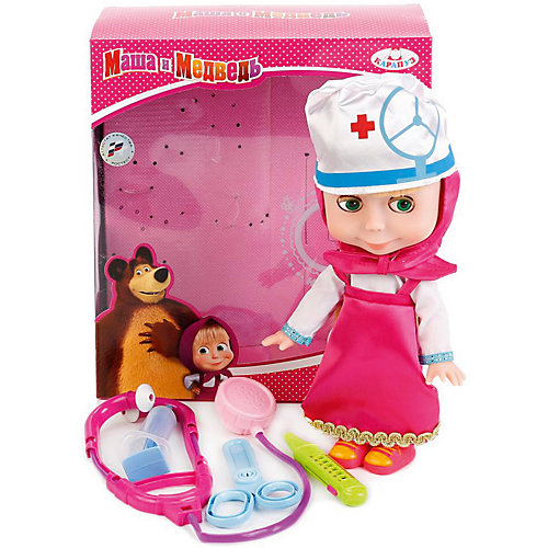 Кукла Карапуз Маша и Медведь Маша с набором доктора, 25 см от Карапуз
