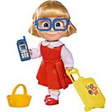 """Мини-кукла Simba """"Маша и Медведь"""" Даша с чемоданчиком, корзинкой и телефоном, 12 см"""
