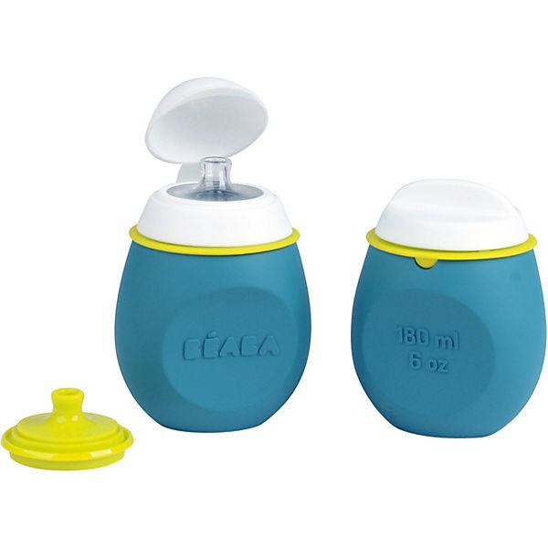 Контейнер и поильник из силикона Beaba Set Babysqueez&portion, голубой