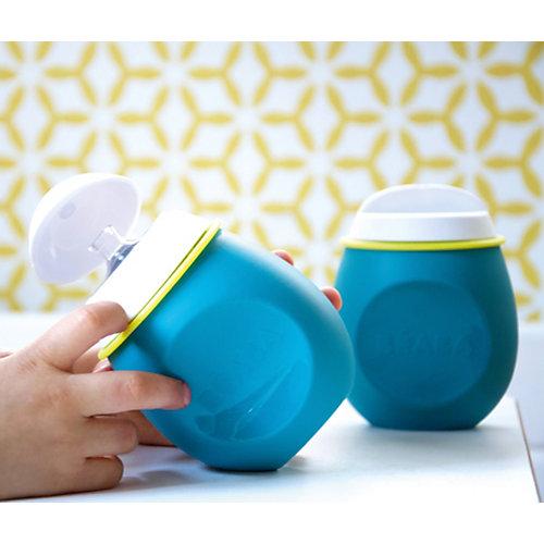 Контейнер и поильник из силикона Beaba Set Babysqueez&portion, голубой от BÉABA