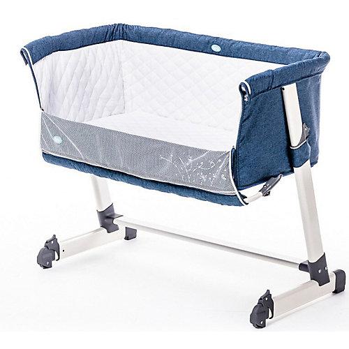 Детская приставная кроватка Nuovita Accanto, тёмно-синий лен от Nuovita