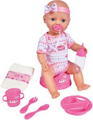 New Born Baby Puppe Babypuppen Puppe mit Kinderwagen Zubehör Trink Nässefunktion
