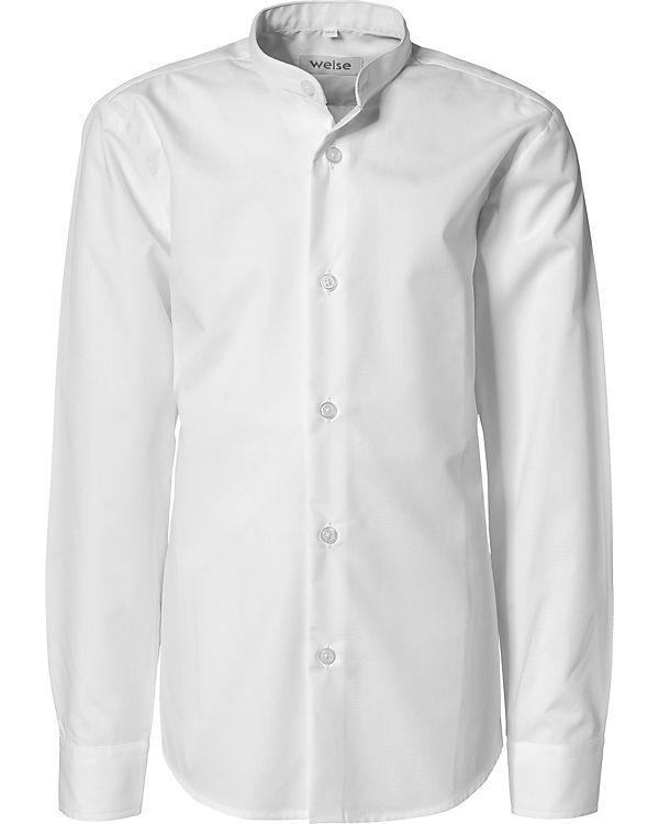 pretty nice 76b17 ccb24 Hemd mit Stehkragen für Jungen, Slim Fit, weise