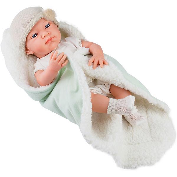 """Кукла-пупс Paola Reina """"Бэби"""" с одеяльцем, салатовый, 36 см"""