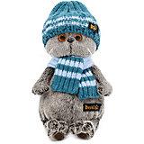 Мягкая игрушка Budi Basa Кот Басик в голубой вязаной шапке и шарфе, 22 см