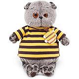 Мягкая игрушка Budi Basa Кот Басик в полосатой футболке с пчелой, 19 см