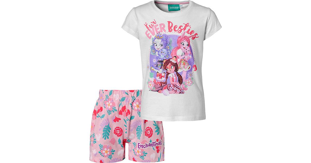 Enchantimals Kinder Schlafanzug rosa/weiß Gr. 104/110 Mädchen Kleinkinder