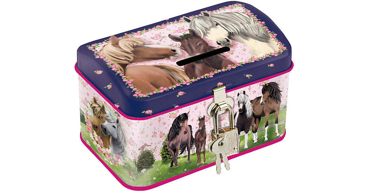 Spardose Pferde rosa/blau