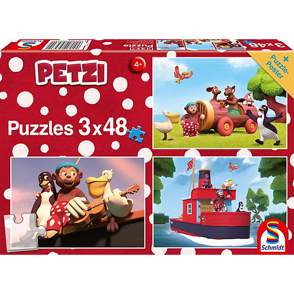 Puzzleset 3 x 48 Teile Petzi, Auf ins Abenteuer!, Schmidt Spiele