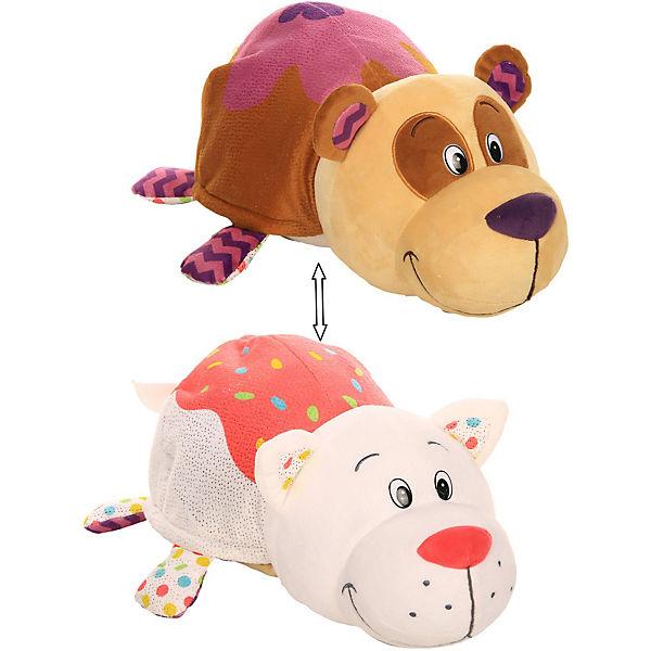 """Мягкая игрушка-вывернушка 1toy """"Ням-Ням"""" Панда с ароматом черничных оладьев-Кошечка с ароматом ванильного пиро"""