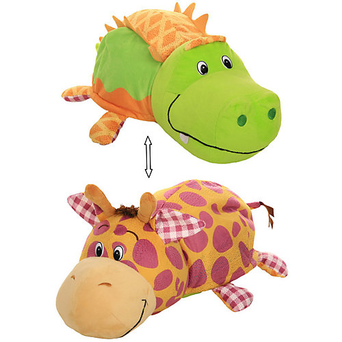 """Мягкая игрушка-вывернушка 1toy """"Ням-Ням"""" Крокодильчик с ароматом яблочного пирожка-Жираф с ароматом Арахисовой от 1Toy"""