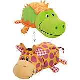 """Мягкая игрушка-вывернушка 1toy """"Ням-Ням"""" Крокодильчик с ароматом яблочного пирожка-Жираф с ароматом Арахисовой"""