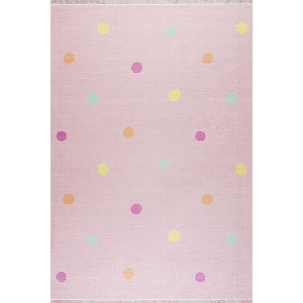 Kinderteppich, LOVE YOU DOTS rosa/multi, 100 x 160 cm