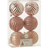 Набор ёлочных шаров  House of Seasons 6 шт., розовые