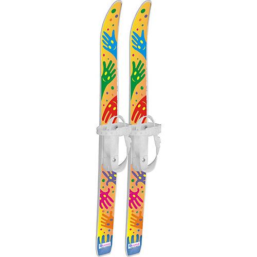 """Лыжи детские """"Лыжики пыжики"""" Ручки с палками, в сетке (75/75) - белый от Цикл"""