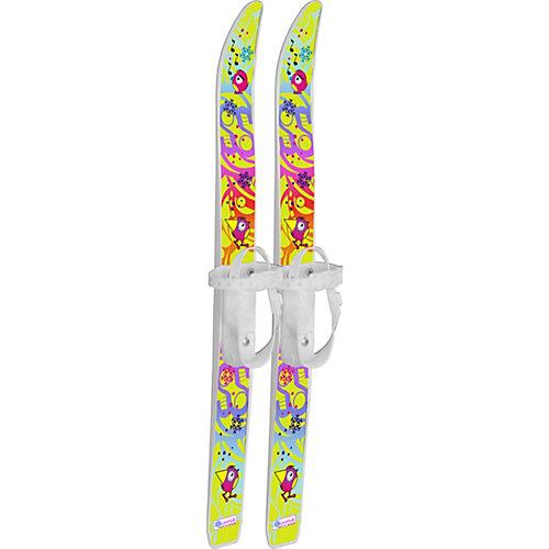 """Лыжи детские """"Лыжики пыжики"""" Чижики с палками, в сетке (75/75) - белый от Цикл"""