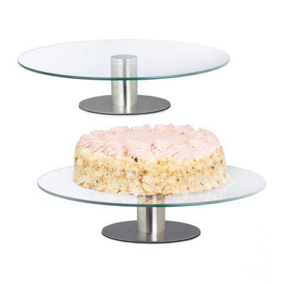 2x Tortenteller Servierplatte Tortenständer Kuchenplatte Edelstahlfuß drehbar transparent