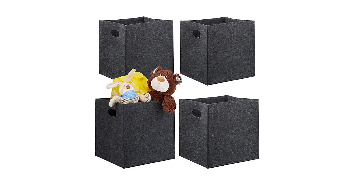 Regalkorb 4x Filzkorb anthrazit Einkaufskorb Filz Aufbewahrungsbox Filztasche