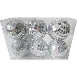 Набор ёлочных шаров Новогодняя сказка 6 шт, 6 см, диско серебро