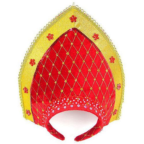 Кокошник Новогодняя сказка 23 см, красно-золотой от Новогодняя сказка