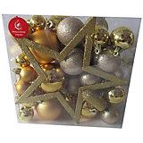 Набор ёлочных шаров Новогодняя сказка 50 шт, золотой
