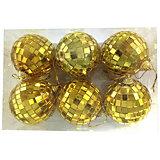 Набор ёлочных шаров Новогодняя сказка 6 шт, 6 см, диско золото
