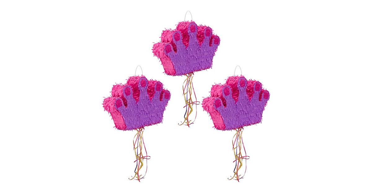 3x Pinata Krone, Zugpinata, Ziehpinata, zum Befüllen, Kinder, zum Aufhängen lila  Kinder