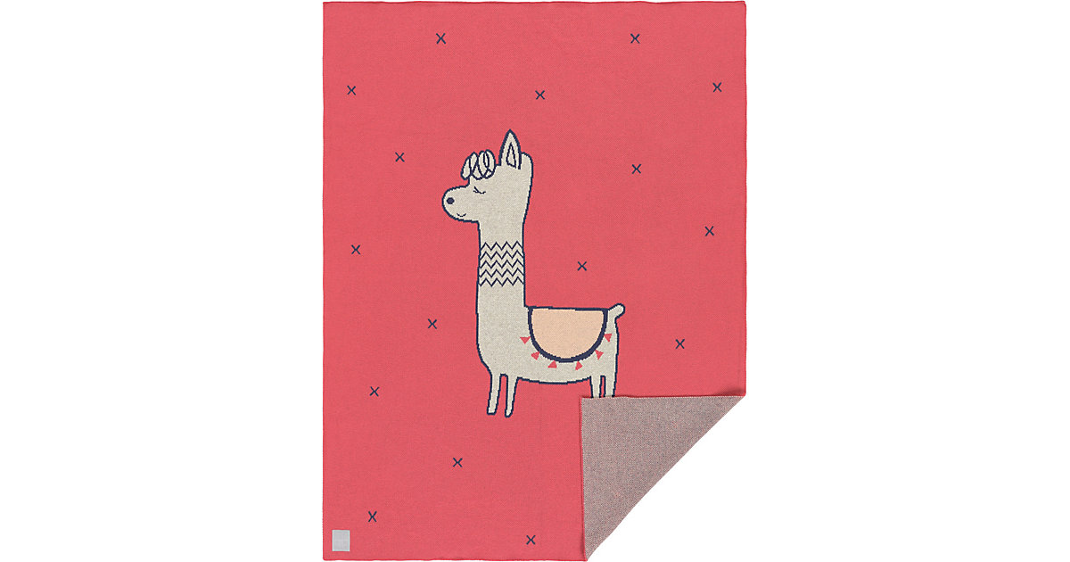 LÄSSIG · Spiel- und Kuscheldecke Glama Lama, GOTS, gestrickt, 75 x 100 cm, coral