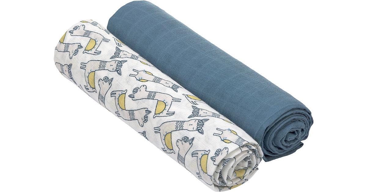 LÄSSIG · Mulltücher Heavenly Soft XL, 2er Set, 120x120 cm, Glama Lama, blue