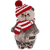 Мягкая игрушка Budi Basa Кот Басик в полосатой шапке с шарфом, 19 см
