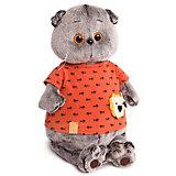 Мягкая игрушка Budi Basa Кот Басик в оранжевой футболке в рыбки с львенком, 19 см