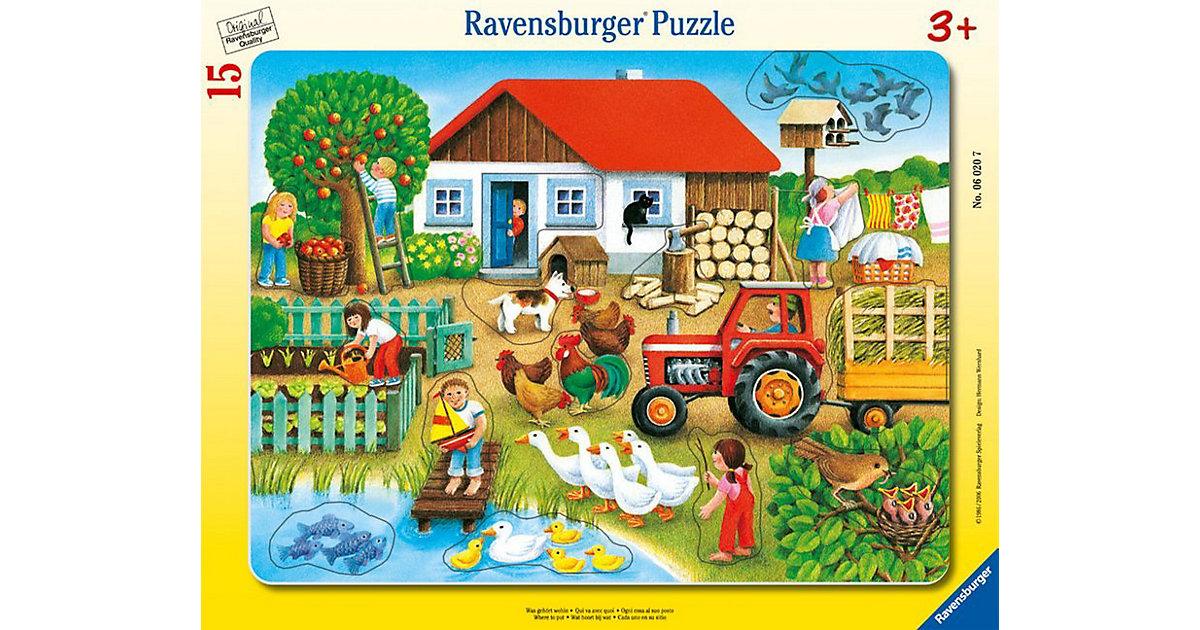Rahmen-Puzzle mit Konturen, 15 Teile, 32,5x24,5 cm, Was gehört wohin?