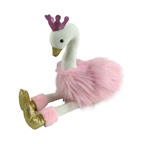 Мягкая игрушка ABtoys Лебедь 25 см, розовый с золотыми лапками и клювом от ABtoys