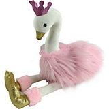 Мягкая игрушка ABtoys Лебедь 25 см, розовый с золотыми лапками и клювом