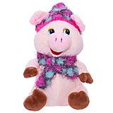 Мягкая игрушка ABtoys Свинка в розовых шапочке и шарфике, 17 см.