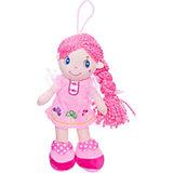 Мягкая кукла ABtoys с розовой косой в розовом платье, 20 см