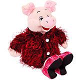 Мягкая игрушка ABtoys Свинка в розовых туфлях и бордовой шубке, 17 см.