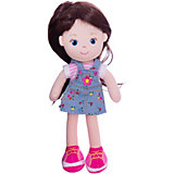Мягкая кукла ABtoys брюнетка в синем платье, 32 см