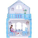"""Кукольный домик R&C """"Марина"""" с мебелью, бело-голубой"""