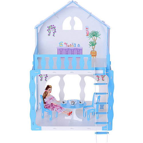 """Кукольный домик R&C """"Марина"""" с мебелью, бело-голубой от R&C"""