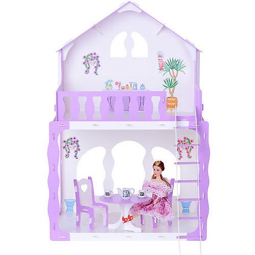 """Кукольный домик R&C """"Марина"""" с мебелью, бело-сиреневый от R&C"""